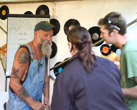 Seasick Steve signing autographs. Sweet guy.